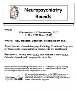 BC Neuropsychiatry Rounds 13th September 2017