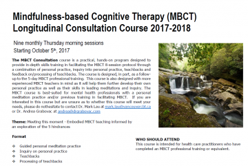 MBCT Mindfulness-based Cognitive Therapy Longitudinal Course 2017-18