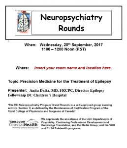 BC Neuropsychiatry Rounds 20th  September 2017