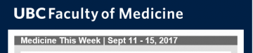 FoM Medicine This Week | Sept 11 – 15, 2017