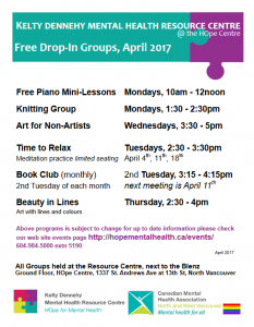 Kelty Dennehy Mental Health Resource Centre Schedule for Free Drop In Groups October 2017
