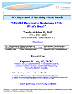RCH Department of Psychiatry Grand Rounds – Tuesday October 10, 2017