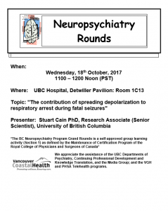 Invite to 18th October 2017 Neuropsychiatry Rounds