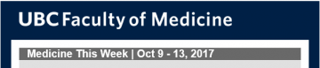 FoM Medicine This Week | Oct 9 – 13, 2017