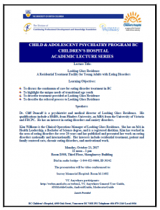 Child & Adolescent Psychiatry Academic Rounds Monday  October 23rd  , 2017