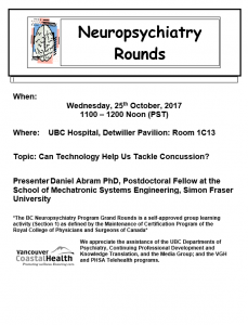 Neuropsychiatry Grand Rounds Wednesday 25th October 2017