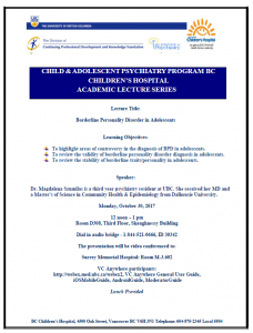Child & Adolescent Psychiatry Academic Rounds Monday  October 30th