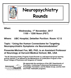 Neuropsychiatry Rounds Wednesday  November 1st