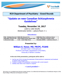 RCH Department of Psychiatry Grand Rounds – Tuesday, November 14, 2017
