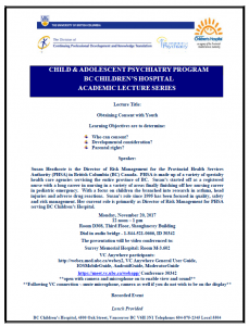 Child & Adolescent Psychiatry Academic Rounds Monday  November 20th
