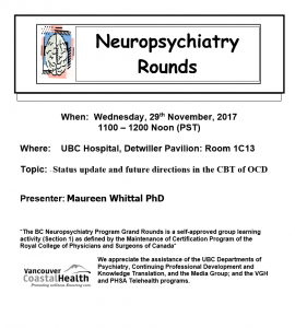 Neuropsychiatry Grand Rounds Wednesday 29th November