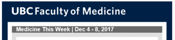 FoM Medicine This Week | Dec 4 – 8, 2017
