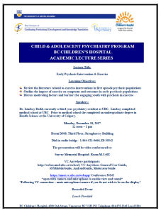 Child & Adolescent Psychiatry Academic Rounds Monday  December 18th