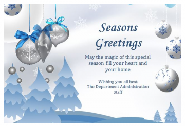Seasons Greetings From the Administration Office