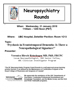 BC Neuropsychiatry Rounds Wednesday January 31st