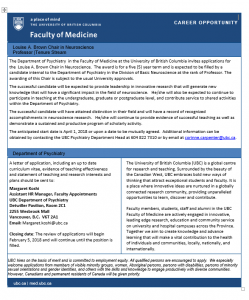 Call for Applications – Louise Brown Chair in Neuroscience   Deadline February 5th