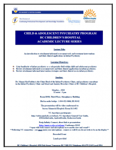 BCCH Academic Lecture Series -Monday  February 5th