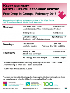 Kelty Dennehy Mental Health Resource Centre  February Drop in Groups