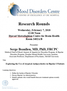 UBC  Mood Disorder Rounds Wednesday February 7th