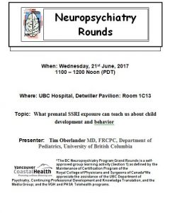 RCH Department of Psychiatry Grand Rounds – Tuesday February 14, 2018