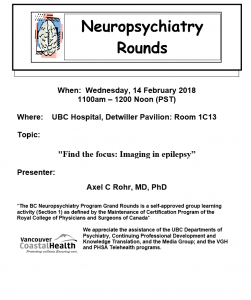 BC Neuropsychiatry Rounds Wednesday February 14th