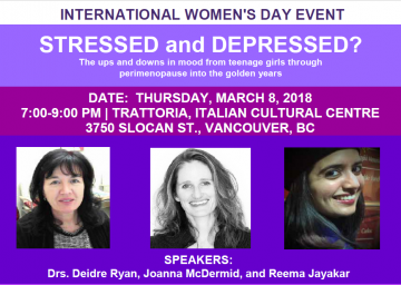 "Stressed and Depressed? The ups and downs in mood from teenage girls through perimenopause into the gold years""."