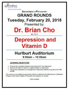 SPH Department of Psychiatry Grand Rounds Tuesday February 20th