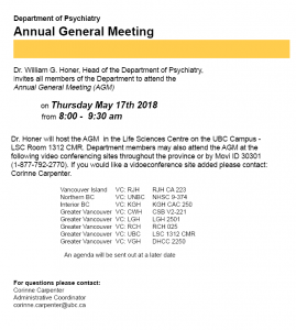 2018 Department Annual General Meeting Thursday May 17th 8:00 – 9:30