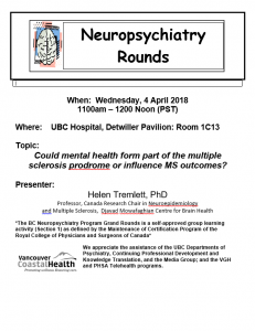 BC Neuropsychiatry Rounds Wednesday April 4th