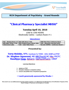 RCH Department of Psychiatry Grand Rounds – Tuesday April 10, 2018