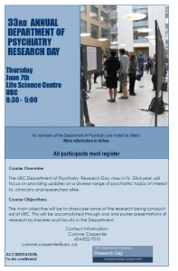 33rd Annual Department Research Day  Thursday June 7th 2018 **Registration closes May 25.**