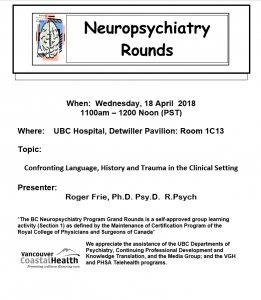 BCNP Grand Rounds  Wednesday April 18th