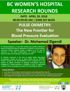 BC Women's Hospital Research Rounds Friday April 20th