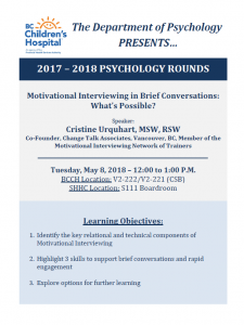 BCCH Psychology Rounds – May 8 2018