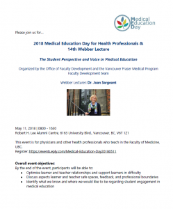 Invitation – Annual Medical Education Day May 11th