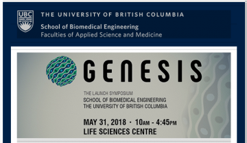 School of Biomedical Engineering Launch Symposium May 31st