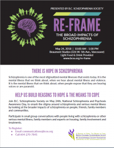 Re-Frame : The Broad Impacts of Schizophrenia May 24th