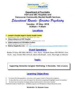 Department  of Psychiatry Geriatric Rounds Tuesday May 29th