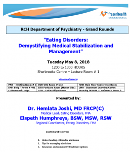 RCH Department of Psychiatry Grand Rounds – Tuesday May 8,