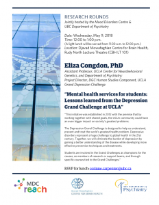 "Special Mood Disorders Rounds by Dr. Eliza Congdon "" Mental health services  for students: Lessons learned from the Depression Grand Challenge at UCLA"" Wednesday May 9th 12:00 – 1:00"