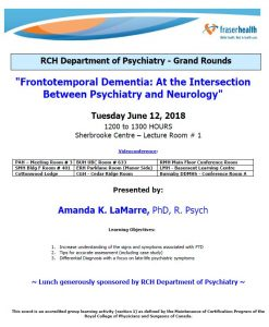 RCH Department of Psychiatry Grand Rounds – Tuesday June 12, 2018