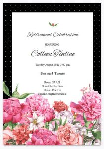 Retirement Tea in honour of Colleen Tinline Tuesday August 28th 3:00pm