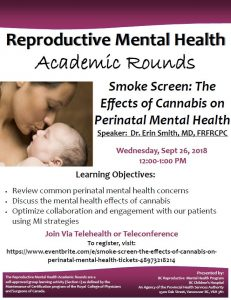 BC Reproductive Mental Health Program  Academic Rounds Wednesday September 26th