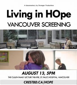 Monday August 13, 2018 Living in HOpe documentary screening and research study