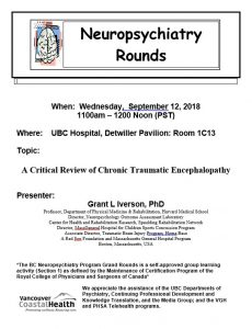 BCNP Grand Rounds  Wednesday  September 12th