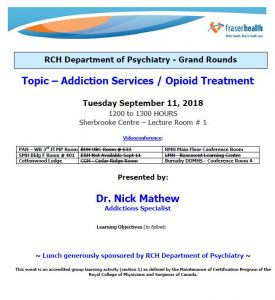 RCH Department of Psychiatry Grand Rounds – Tuesday, September 11, 2018