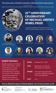 Scientific Symposium! Register for the 25th Anniversary Celebration of Michael Smith's Nobel Prize Monday October 1st