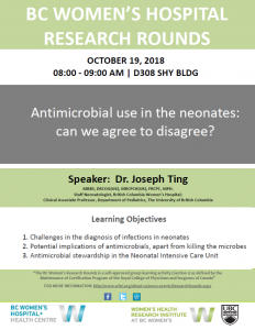 BC Women's Hospital Research Rounds:  Friday October 19th