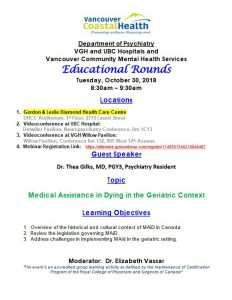 VGH/UBC Psychiatry Educational Round Tuesday October 30th