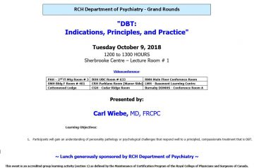 RCH Department of Psychiatry Grand Rounds Tuesday October 9th